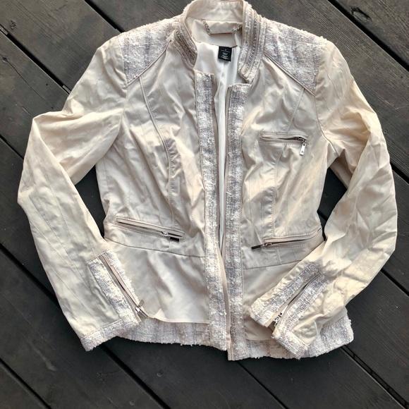 White House Black Market Jackets & Blazers - White House Black Market Tweed Trim Satin Feel